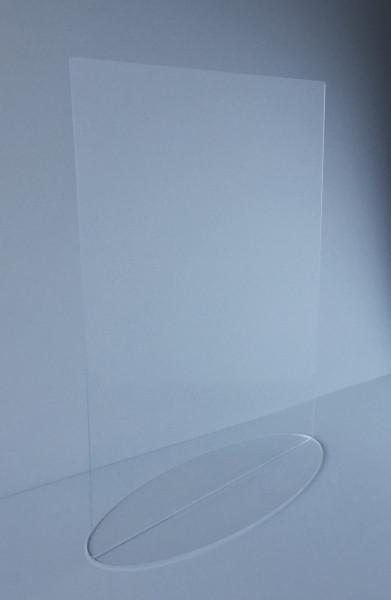Niesschutz stehend senkrecht | 75 cm breit mit Warenausschnitt | unbedruckt